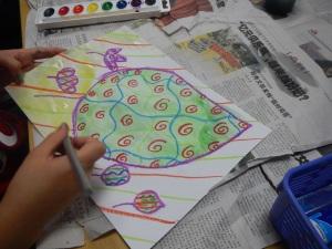 Chalk, oil pastels and watercolour paint